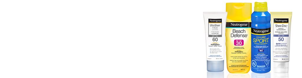 Produits NEUTROGENA® à large spectre UVA-UVB avec Helioplex®