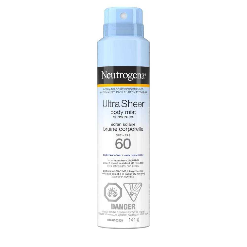 Protection solaire en bruine corporelle Neutrogena Ultra Sheer, FPS 60, 141 g
