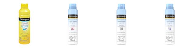 Image représentant les produits affectés par le rappel, à savoir l'écran solaire à vaporiser Neutrogena Beach Defense et les écrans solaires en bruine corporelle Neutrogena Ultra Sheer avec PFS 30, 45 et 60