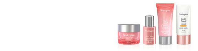 Bannière avec 4 produits Neutrogena Bright Boost, 30 ml à 75 ml