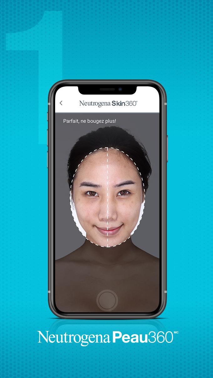 Image qui montre la première étape consistant à scanner son autoportrait à l'aide de l'application Neutrogena Peau360