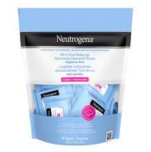 Emballage des lingettes nettoyantes démaquillantes Tout-en-un Neutrogena en sachets, sans parfum
