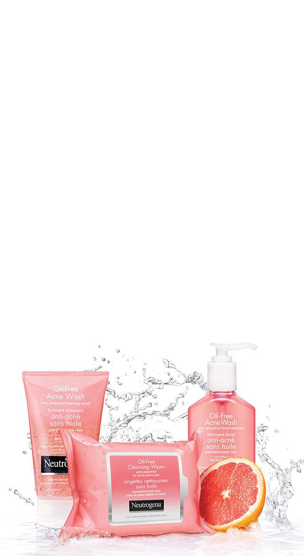 Produits NEUTROGENA® au pamplemousse rose avec éclaboussures